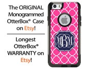 iPhone OtterBox Commuter Case for iPhone 6/6s, 6 Plus/6s Plus, 5/5s, 5c, 4/4s, Galaxy S6 S5 S4 Note 5 4 Monogrammed Hot Pink Lattice Case