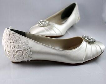 Ivory Lace Wedding Flat  - The Marigold - size 8.5 Sale