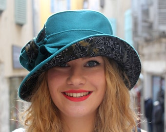 Turquoise green hat. Womans unique fabric hat. Turquoise green bucket hat. Ladies cloche hat. 1920s cloche hat. Unique hat.