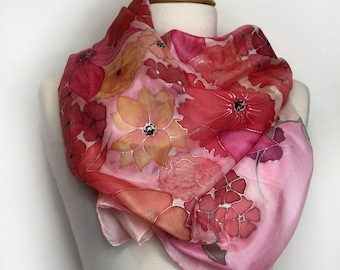 Hand painted silk scarf. Pink floral silk scarf. Painted silk foulard. Original wearable art. Hand painted in France.
