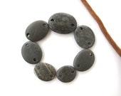 Rock Links Beach Stone Beads Double Drilled Mediterranean Natural Stone Beads Diy Jewelry Findings Stone Connectors DARK GRAY LINKS 18-27 mm