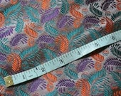 "Stunning woven silk in a leaf design in orange, teal and purple on a lilac grey background siz 28"" x 40"" medium weight"