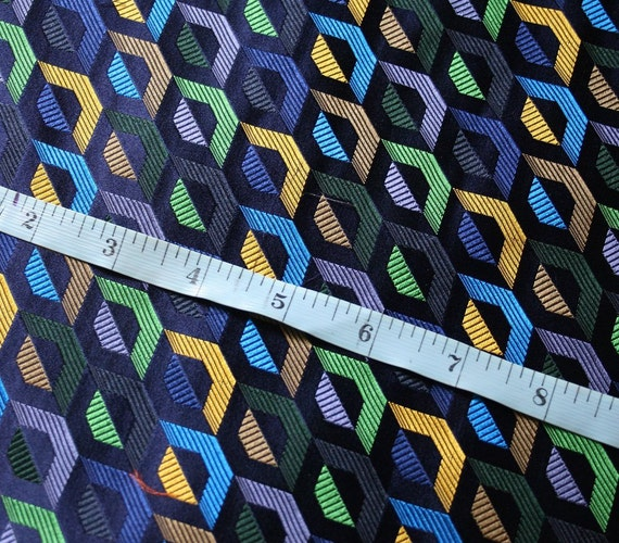 """Stunning piece of woven silk fabric with a geometric design in navy with various other colours, size 27"""" x 29"""", firm medium weight"""