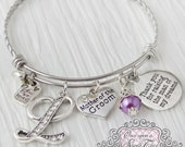 Mother of the Groom Gift -Thank you for raising the man of my dreams- -Initial Bridal Jewelry-Expandable Bangle-Charm Bracelet, purple