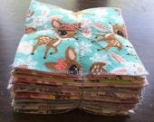 Cloth baby wipes set of 36 different patterns for girls made with 2 layers 100% cotton flannel