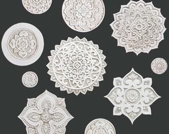 ceramic tiles with mandala design made from ceramic,set of 10 different circles,ceramic tile,beige wall art