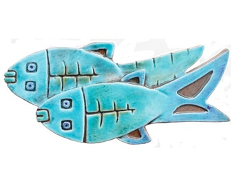 Fish wall hanging // Ceramic tile with fish design // Wall decor // Wall art // Ceramic fish #2 // Turquoise
