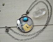 Silver turquoise necklace, mountain necklace, bird necklace, silver jewelry, turquoise jewelry
