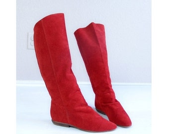 Half Off vtg 80s RED suede leather TALL BOOTS boho 7 flat knee high tall shoes retro preppy