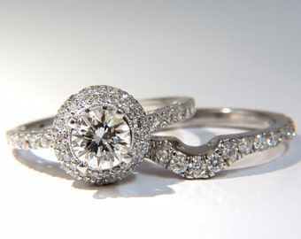 GIA Certified .70ct & 1.00ct round diamond ring and Matching band 18kt