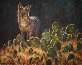 Coyote and Cactus (original oil painting)