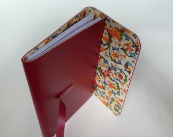 Leather Journal Leather Notebook Travel Journal Dark Red Leather with a Beautifully Stylish Florentine Paper Lining.