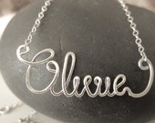 Name Necklace Custom Made Sterling Silver Cursive ADULT SIZE. Stocking stuffer. Gift for her. Name or word.