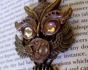 Steampunk Necklace (N631) Owl Pendant, Dame Edna Owlet, Steampunk Owl, Swarovski Crystals, Brass Chain