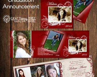 Tri-fold Graduation Announcement (RED)
