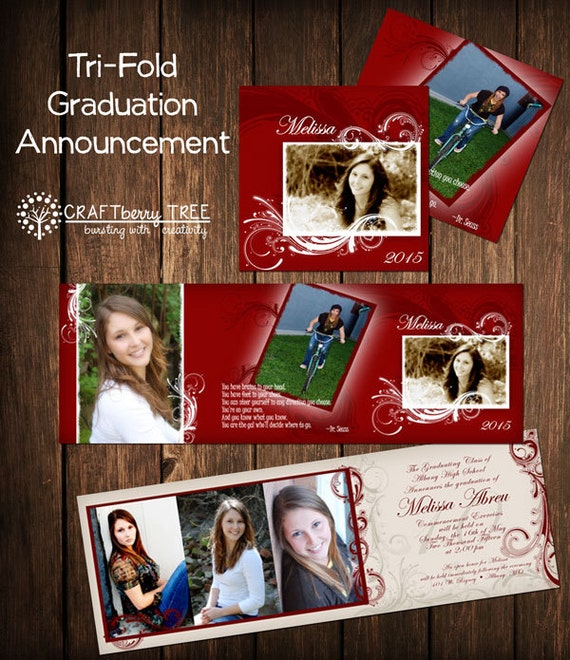 Tri-fold Graduation Announcement RED