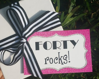 Forty Rocks Tag Printable - Instant Download - Pink and Silver Glam Collection