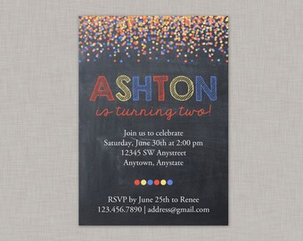 Confetti Birthday Invitation, Confetti Invitation, Boy Birthday Invitation