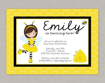 Bumble Bee Invitation, Bee Invitation, Bumble Bee Party, Bee Party, Busy Bee