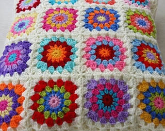 set of 2 crochet hippie happy granny square cushion covers in cream edging / pillow covers