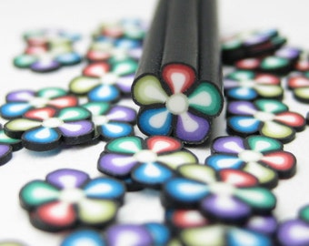 Rainbow polymer clay cane flower 1pc uncut kawaii miniature decoden nail art supplies deco DIY slices 5mm flower cane embellishment