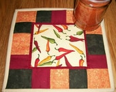 Quilted Candle Mat Mug Rug Coaster Red Hot Chili Pepper Southwestern Decor Brown Red Green Mini Quilt