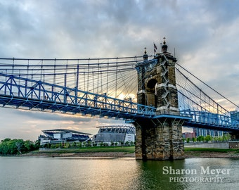 John A. Roebling Suspension Bridge Print, Fine Art Photo Print, Wall Decor, Bridge Print, Cincinnati Print, Cincinnati Photo