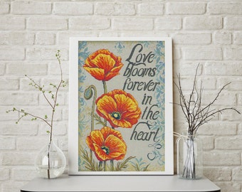 Cross Stitch Kit Love Blooms by Bucilla