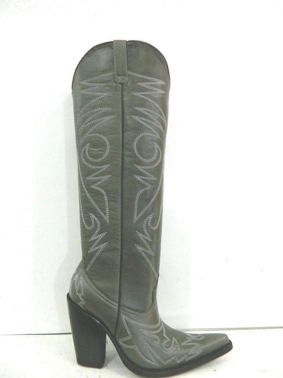Made to order 22 inch tall dark gray cowboy boots sharp toe