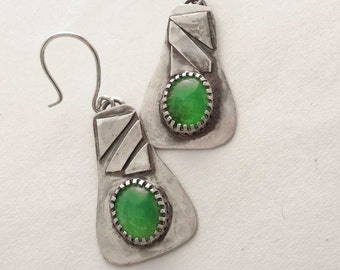 Chrysophrase Green Dangle Earrings are Handmade Polished Silver, Rustic, One of A Kind, Gallery Bezel Wire, Applied Shapes Texture, Oxidized