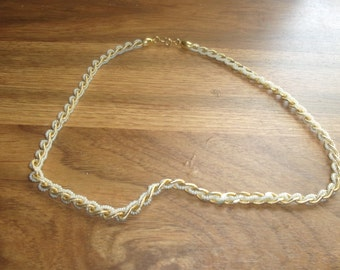 vintage necklace goldtone faux pearls braid trifari