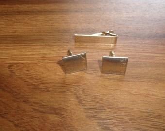 vitnage cufflinks cuff links tie tac set goldtone