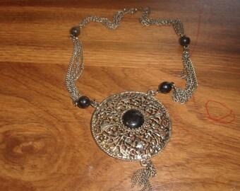 vintage necklace silvertone black lucite dangles