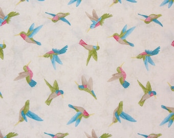 Hummingbird Fabric, Hummingbirds, Cream Background,, Tossed Hummingbirds, Benartex Fabric, By the Yard