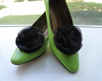 Vintage 1960's Chiffon Fabric Black Shoe Clips|Black Rosette Shoe Clips|Black Rosette Shoe Buckles|Vintage Dress and Shoe Clips|Wedding Clip