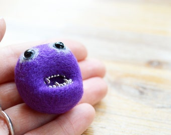 Needle Felted Purple Monster Badge - Made To Order - Felt Pheeple Halloween Brooch Pin