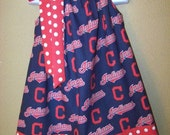 Cleveland Indians Dress, Indians Pillowcase Dress, MLB Dress, Baseball Dress, Game Day Dress – Choose Your Favorite Team, Size 6 mos to 14