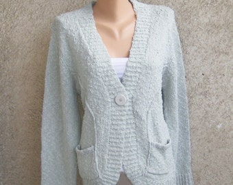 Vintage Grey Knit Cardigan / Marc Lauge Clothing / Long Sleeve Jacket / Button Womens Sweater / Acrylic Popcorn Coats / L XL 14 US 16 UK