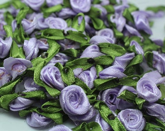 Lavender Satin Ribbon roses w/leaves-12mm-25 PCS
