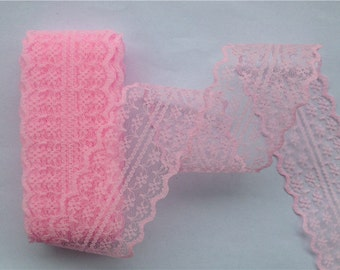 """Pink Lace-40mm-1-1/2""""-3 YDS"""