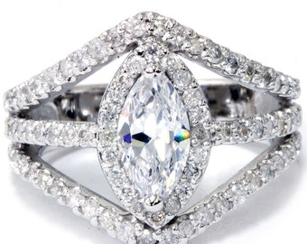 Marquise Diamond Engagement Ring, Halo Diamond Engagment Ring, 2.00ct Halo Unique 14K White Gold Enhanced, Vintage Marquise Diamond Ring