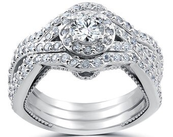Diamond Engagement Ring Set, 1 1/2ct Halo Vintage Diamond Engagement Rings, Trio Engagement Ring Set Infinity Art Deco Diamond Engagement