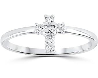 Diamond Cross Ring 10k White Gold