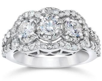 3 Stone Halo Diamond Engagement Ring Vintage 3 Diamond Engagement Ring 14k White Gold 1.50CT Halo Round Brilliant Cut Diamond Engagement