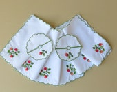 6 Cocktail Napkins 2 Wine Slippers White Cotton Strawberry Embroidery 112a