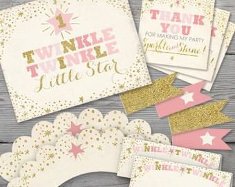 Twinkle Twinkle Little Star Birthday Party Kit PRINTABLE, Twinkle Twinkle Little Star First Birthday, Birthday Decorations