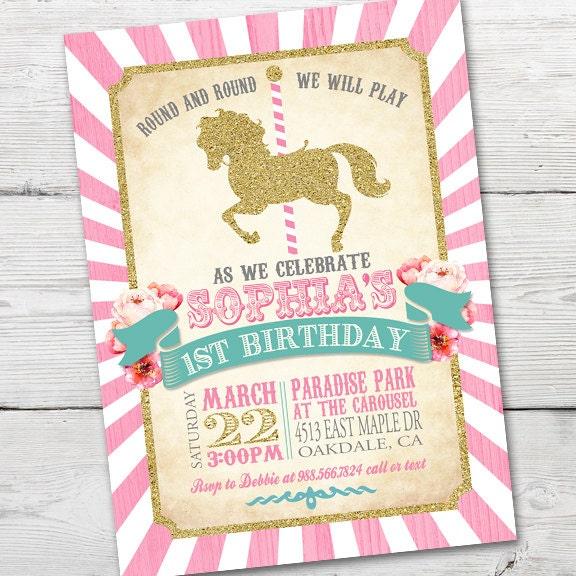 Carousel Birthday Invitation Carousel First Birthday – Carousel Party Invitations