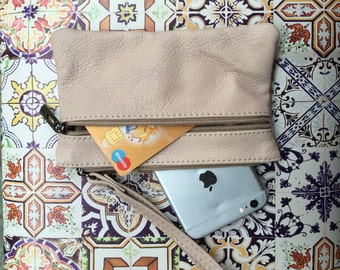 Small genuine leather wristlet BAG in light BEIGE, iPhone case, Cosmetic bag, Make up bag,Purse in CREAM, soft leather.