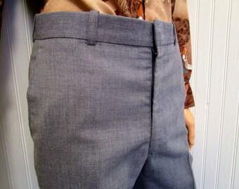 "70s 32"" x 30"" Polyester Blend Mens Flares Bell Bottom PANTS Disco Blue Gray"