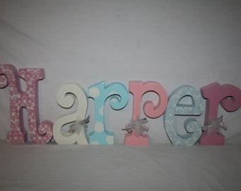 Girl decor, Shabby chic nursery, Polka dots, 6 letter set, Girls room, Girl nursery, Kids room decor, Nursery letters, Hanging letters